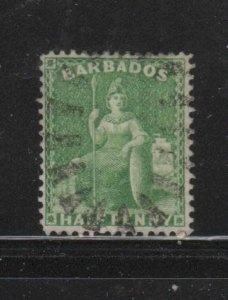 BARBADOS #39  1873   1/2p BRITANIA     F-VF  USED