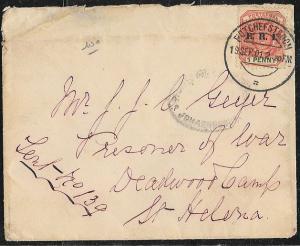Transvaal Boer War Prisoner of War Cover - St. Helena - Censored