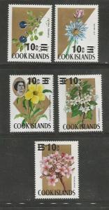 Cook Islands MNH 305-9 Flowers Overprints