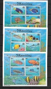FISH - MAURITIUS #919a-21a  MNH