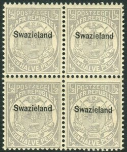 SWAZILAND-1889-90  ½d Grey.  An unmounted mint block of 4 Sg 4