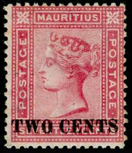 MAURITIUS SG119, 2c on 17c Rose, M MINT. Cat £140.