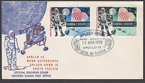 SAMOA 1970 cover Moon Landing - Apollo 13 - special SPLASH-DOWN cancel......B161