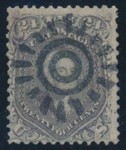 #70 24c 1861 (VF) WITH FULL STRIKE SAN FRANCISCO COGWHEEL CANCEL CV $300++ BV720