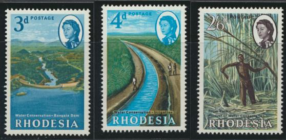 Rhodesia   SG 354-356  SC# 203-205   MNH Water Conservation see details