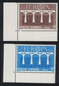 Andorra Sp. 25th Anniversary of Europa CEPT 2v Corners with margins SG#174-175