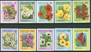 AITUTAKI Cook Islands Sc#489-498 1994 Flowers Part Set to 90c OG Mint NH