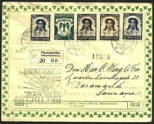 SURINAME 1938 Emancipation set on registered FDC...........................19960