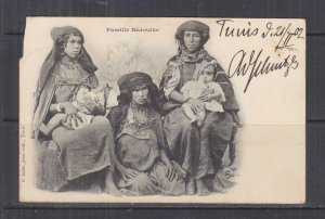 TUNISIA, 1902 ppc. Bedouin Family, 5c. Tunis to Austria.