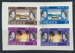 Barbados  SG 506-509 SC# 416-419 Used on piece Royal Visit  1975 see scan