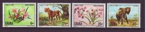J24439 JLstamps 1970 ghana mnh set #402-5 wildlife