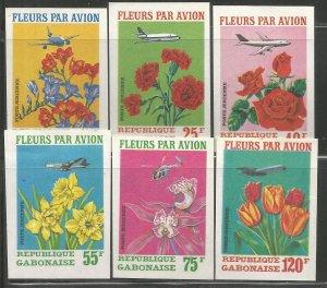 GABON  C109-C111  MNH,  IMPERF,  FLOWERS BY AIR