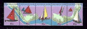 Cocos Is 292 MNH 1994 Sailing Craft Strip of 5