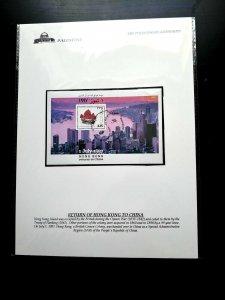 """Palästina Thema Ausstellung Blatt """"Palästinensische Authority"""" Hong Kong Return"""