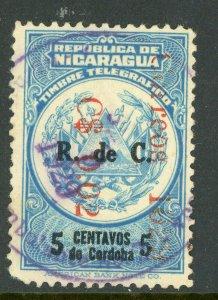 Nicaragua 1929 R de C Revaluation 1¢5¢ VFU  O657