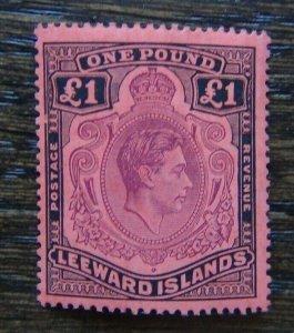 Leeward Islands 1938 - 1951 £1 Brown Purple & Black on Scarlet LMM SG114b
