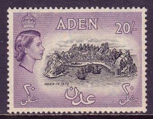 ADEN — SCOTT 61A — 1957 20/- LT. VIOLET & BLACK QEII PICTORIAL — MNH — SCV $60
