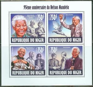 NIGER NELSON MANDELA 95TH BIRTH ANNIVERSARY SHEET OF 4