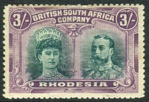 RHODESIA-1910-13 3/- Green & Violet.  A mounted mint example Sg 158