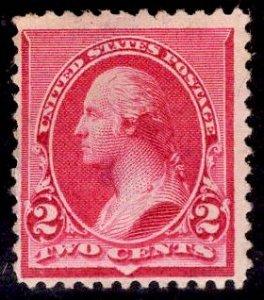 US Stamp #220 2c Carmine Washington MINT NO GUM SCV $20.00 (as hinged)