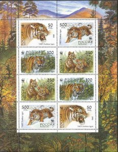 Russia MNH S/S 6181b Siberian Tigers 1993 8 Stamps