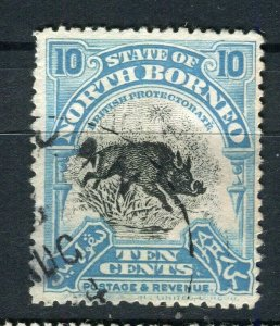 NORTH BORNEO; 1909 early pictorial issue fine used 10c. value Postmark