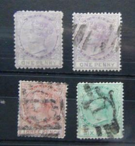 Lagos 1874 - 1875 values to 6d Used Cat £160+