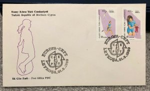 Turkey Northern Cyprus 1988 FDC Cover EUROPA CEPT flying Kite Dolls