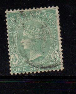 Bahamas Sc 22 1882 1 shilling green Victoria stamp used