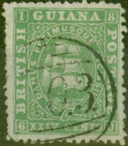 British Guiana 1864 24c Dp Green SG65 Fine Used