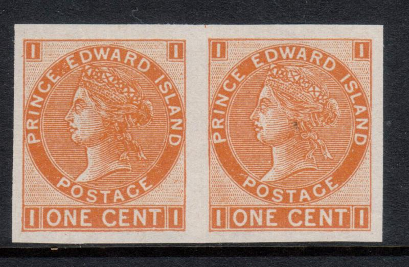 Prince Edward Island #11a Extra Fine Mint Unused (No Gum) Imperforate Pair