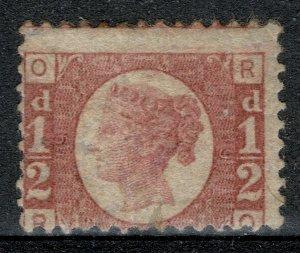 G.B. QV 1870-79 1/2d ROSE-RED BATAM PLATE 19 (R-O) USED (VFU) SG48 P.14 FINE