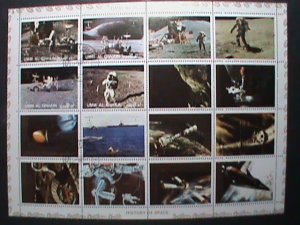 UMM AL QIWAIN STAMP -SPACE AND FIRST MAN ON THE MOON- COMPLETE LARGE CTO SHEET