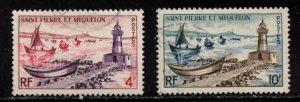 ST PIERRE & MIQUELON Scott # 354-5 Used - Lighthouse & Fishing Fleet