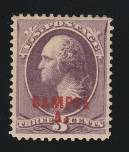US 214SL 3c Washington Specimen VF-XF OG H SCV $75