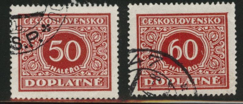 CZECHOSLOVAKIA Scott J63-64 Used Postage Due stamps