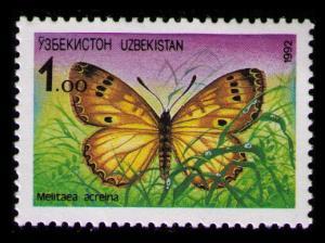 UZBEKISTAN 1992 1r SC#2 MNH BUTTERFLY Melitaea Acreina (K030)