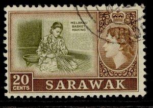 SARAWAK QEII SG210, 20c olive & brown, FINE USED.