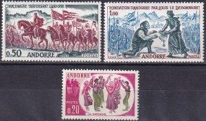 Andorra (Fr) #155-7 MNH CV $27.50 (Z9623)