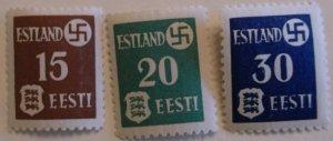 Estonia Stamp N3-5 MNH WWII< Nazi  Topical Cat $50.00
