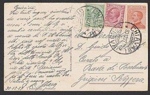 ITALY 1927 3 colour franking postcard Genoa to Switzerland..................K318