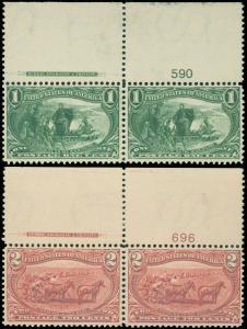 SCOTT #285-#286 Top Imprint & PL# Pairs, Mint-VF/XF-OG-NH, Minor Flt, garyposner