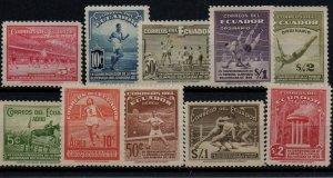 Ecuador 377-381, C65-9 Set Mint Never Hinged