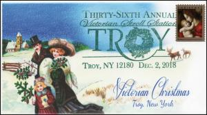 18-380, 2018, Christmas, Pictorial Postmark, Event Cover, Troy NY, Victorian Str