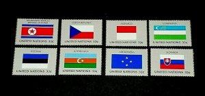 U.N. 1998, NEW YORK #719-726, FLAG SERIES, SINGLES, SET OF 8, MNH, NICE! LQQK!