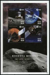 Nevis Space Stamps 2015 MNH Rosetta Mission Comet Landing Philae 67P 4v M/S