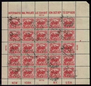 #630 1926 2c WHITE PLAINS SOUVENIR SHEET USED-VF--FLEMING N.Y. OVAL CANCEL
