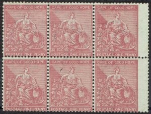 CAPE OF GOOD HOPE 1864 HOPE SEATED 1D */** BLOCK WITH OUTER FRAME LINE CROWN CC