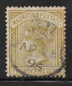 Mauritius 74: 25c Victoria, used, F