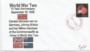 VERY LAST 2nd World War 75 Year Canada Declares War #3of4 Cachet Cover 9/10/39
